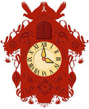 Decorative red clock Royalty Free Stock Photo