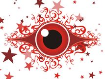 Decorative red eye. Stylized decorative red eye with curled lashes and stars around Royalty Free Stock Image