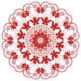 Decorative  red  flower. With vintage round patterns Stock Photo