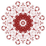 Decorative  red  flower. With vintage round patterns Royalty Free Stock Photography