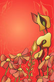 Decorative red flowers. The orange decorative flowers on red background Stock Photos