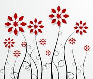 Decorative Red Flowers. Creative Abstract Decorative Waterlily Flowers vector illustration Royalty Free Stock Photography