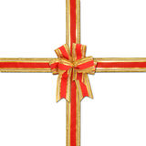 Decorative red and gold ribbon bow Royalty Free Stock Photos