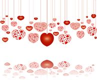 Decorative red hearts on strings, with reflection. Decorative red hearts on strings with reflection, over white background stock illustration