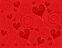 Decorative Red Hearts Swirls Background vector illustration