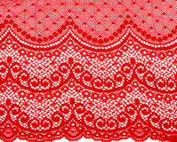 Decorative red lace. On insulated white background Stock Images