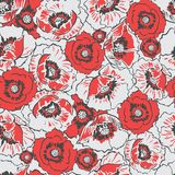 Red Poppies Flower Meadow Seamless Pattern on Light Grey Background vector illustration