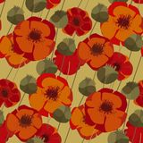 Decorative red poppy floral repeatable motif. Poppy flowers and seed boxes seamless pattern for background, wrapping paper, fabric, surface design. Decorative Stock Images