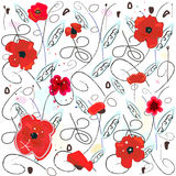 Decorative red poppy flowers abstract pattern background. Red poppies watercolor vector illustration Royalty Free Stock Photos