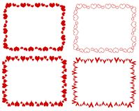 Decorative Red Rectangle Hearts Borders. A clip art illustration of your choice of 4 decorative hearts as rectangular borders isolated on white Stock Photos