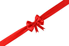Decorative red ribbon with a bow Royalty Free Stock Photos
