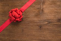 Decorative red ribbon and bow Stock Images