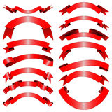 Decorative red ribbons Stock Photos