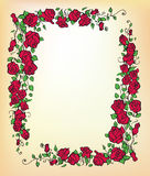 Decorative  red rose border Royalty Free Stock Photo