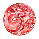 Decorative red round sign om. royalty free stock image