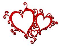 Decorative Red Swirling Hearts Frames Stock Photos