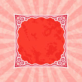 Decorative Red Vintage Frame and Background. Decorative squared vintage frame silhouette. Red vintage and retro background Stock Photos