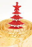 The decorative red X-tree in yellow ribbon Royalty Free Stock Image