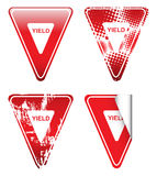 Decorative Red Yield Signs Royalty-vrije Stock Afbeeldingen