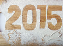 Decorative registration inscription 2015 made of flour on a wood Royalty Free Stock Image