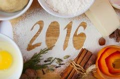 Decorative registration inscription 2016 made of flour Stock Photography