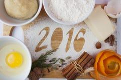 Decorative registration inscription 2016 made of flour Royalty Free Stock Image