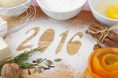 Decorative registration inscription 2016 made of flour Stock Photo