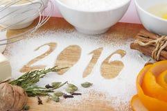 Decorative registration inscription 2016 made of flour Royalty Free Stock Photo