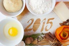 Decorative registration inscription 2015 made of flour Stock Photo