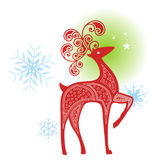 Decorative Reindeer. With  snowflakes and stars Royalty Free Stock Photos