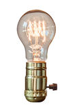 Decorative retro edison style filament light bulb with white bac. Kground Stock Photo