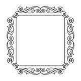 Decorative retro floral frames .Vector illustration. Black. Stock Photo