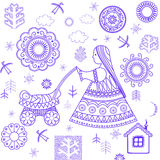 Decorative retro wallpaper. With rural print Stock Photography