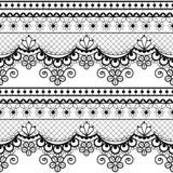 Wedding lace French or English seamless pattern set, black ornamental repetitive design with flowers - textile design royalty free stock image