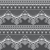 Wedding lace French or English seamless pattern set, white ornamental repetitive design with flowers - textile design stock illustration