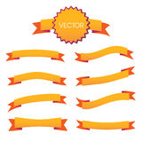 Decorative ribbons scrapbooking style with seams. Vector illustration set. Bright and vibrant orange Stock Photography