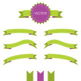 Decorative ribbons scrapbooking style with seams. Vector illustration set. Bright and vibrant violet green Stock Photo