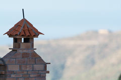Decorative roof chimney and terracotta tiles roof on Tenerife, S Royalty Free Stock Photos
