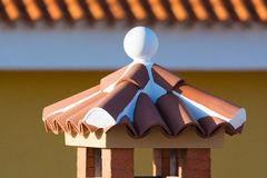 Decorative roof chimney and terracotta tiles roof on Tenerife, S Royalty Free Stock Images