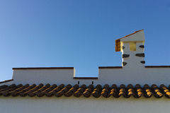 Decorative roof chimney and terracotta tiles roof on Tenerife, S Stock Images