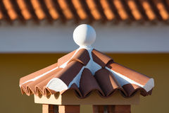 Decorative roof chimney and terracotta tiles roof on Tenerife, S Stock Photos