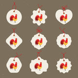 Decorative Rooster. Chinese New Year Symbol of 2017 New Year.rSet of sale tags. Good for greeting card, invitation or Stock Photography
