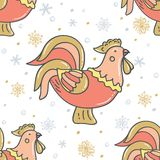 Decorative rooster with snowflakes. Vector illustration on white background. royalty free illustration