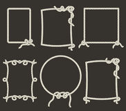 Decorative rope frames on black background Royalty Free Stock Images
