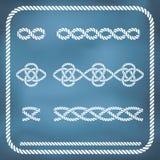 Decorative rope knots. Decorative seamless nautical rope knots. Gradient mesh Royalty Free Stock Photo