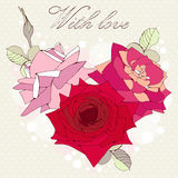 Decorative rose flowers heart. Royalty Free Stock Images