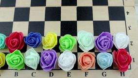 Decorative roses on chessboard stock video