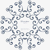 Decorative round frame. Abstract floral ornament. Stock Image