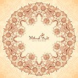 Decorative round frame in Indian mehndi style Stock Image