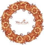 Decorative round frame in Indian mehndi style Stock Photo